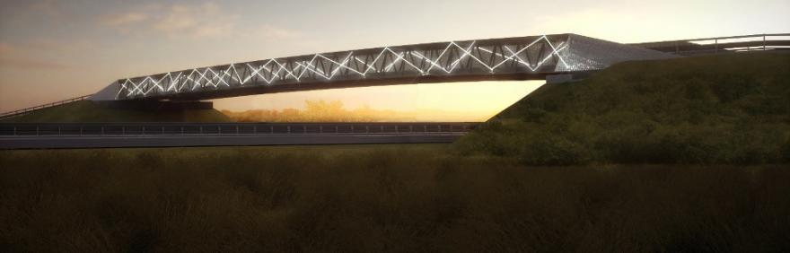 Rendering Passante di Bologna: ponte sulla tangenziale