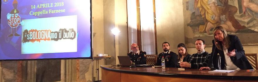 Tavolo relatori incontro Bullismo Cappella Farnese