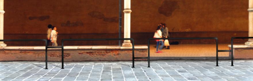 Rendering delle barriere che delimitano la pista ciclabile in Strada Maggiore