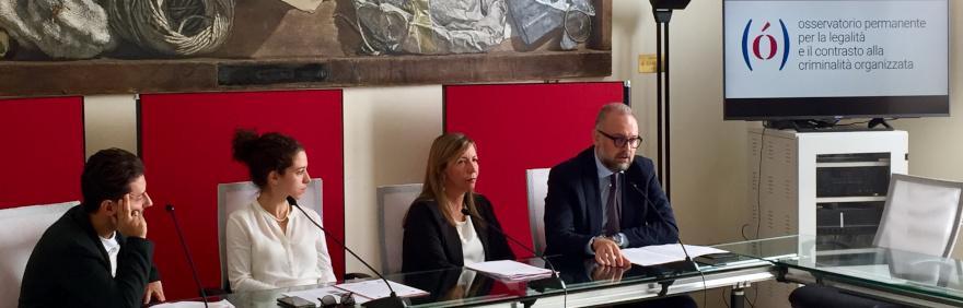 Relatori conferenza stampa Narrare le mafie presentano osservatorio