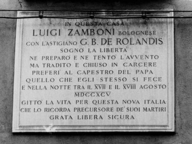Lapide dedicata a Luigi Zamboni