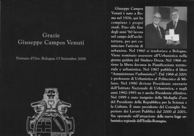 Giuseppe Campos Venuti riceve il Nettuno d'Oro dal sindaco Sergio Cofferati, 15 settembre 2006.