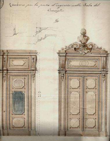 Progetto della porta della nuova Sala del Consiglio, 1877.