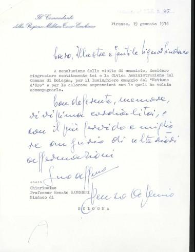 Lettera di ringraziamento del generale Renzo Apollonio