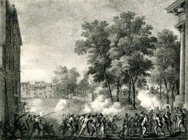 8 agosto 1848, Gli Austriaci sono cacciati da Bologna, Stampa popolare, Museo del Risorgimento.