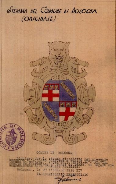 Bozzetto dello stemma del Comune inviato il 27 febbraio 1936 dal Commissario Prefettizio alla Consulta Araldica  per ottenerne il riconoscimento legale